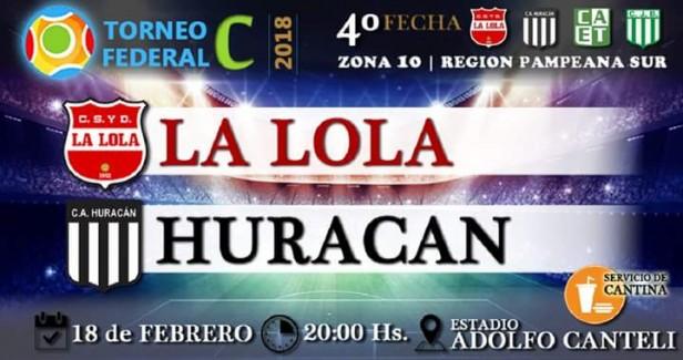 La Lola y Huracán se enfrentan este domingo desde las 20