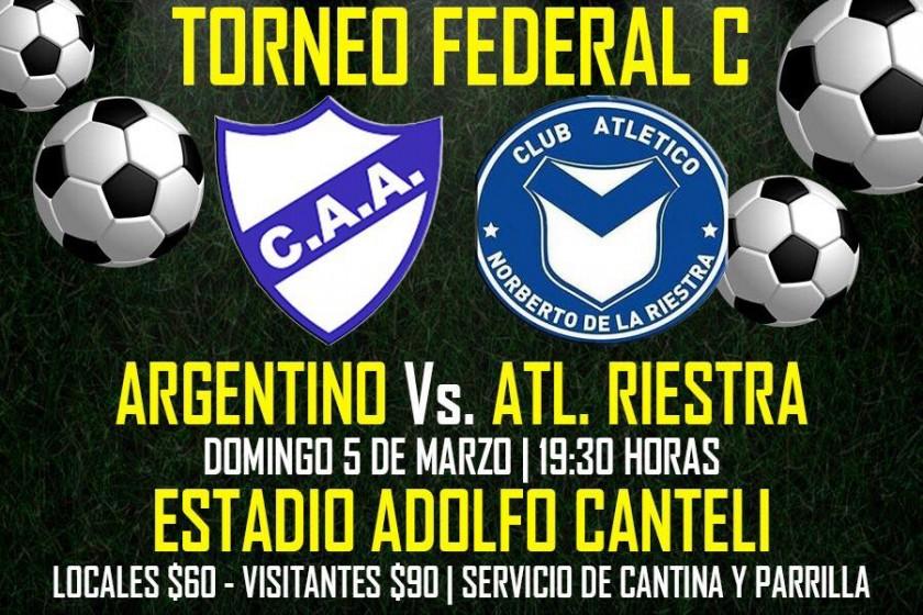 Argentino recibe Riestra en el Adolfo Canteli