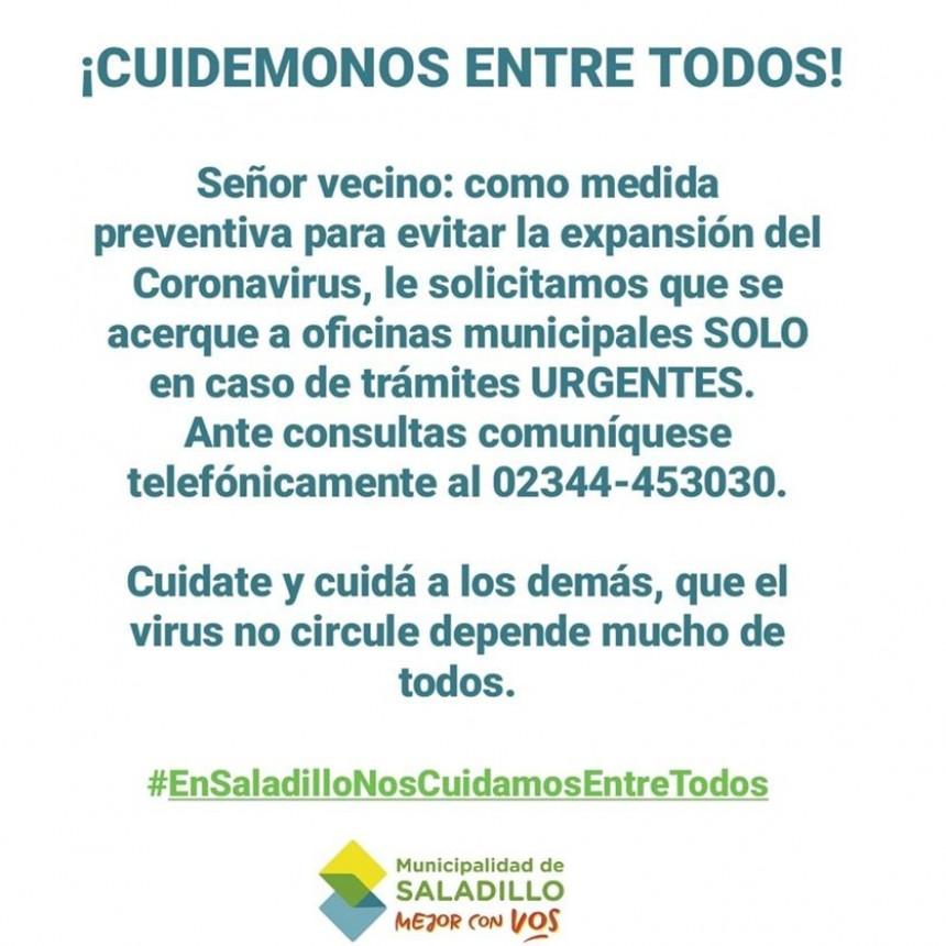 Municipalidad de Saladillo: ¡CUIDÉMONOS ENTRE TODOS!