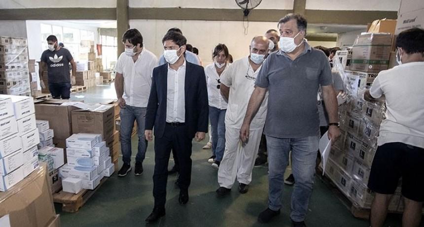 Kicillof recorrió el centro logístico del hospital provincial El Dique