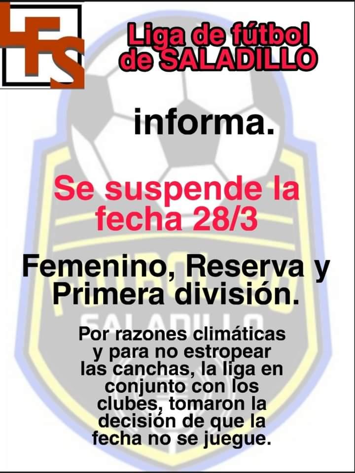 Suspendida la quinta fecha del fútbol