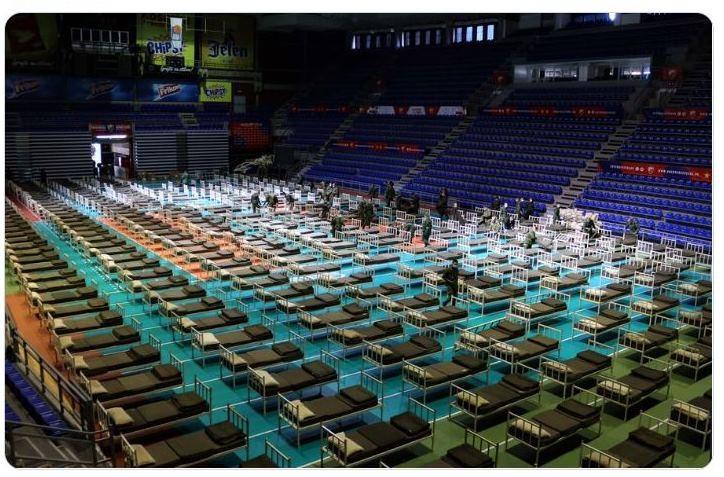 Coronavirus, el Pionir Arena en Belgrado listo para recibir a los enfermos