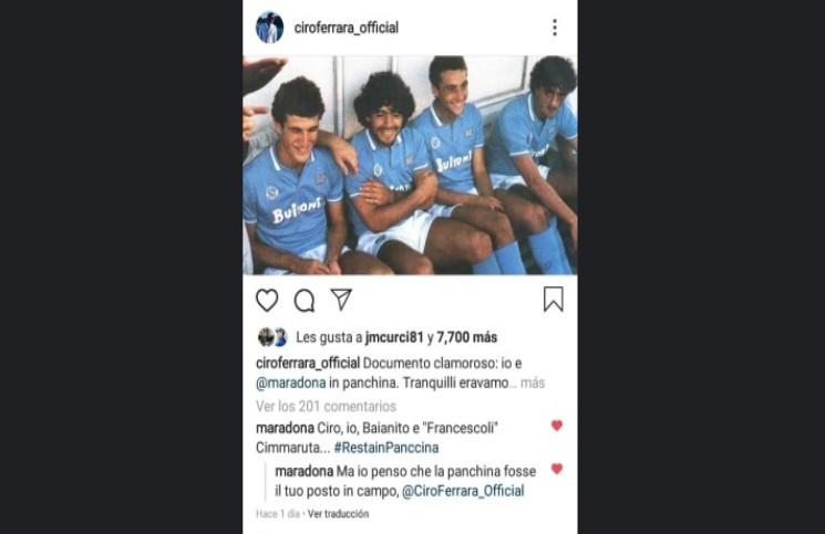 La misteriosa e inédita foto de Maradona en el banco de suplentes del Napoli