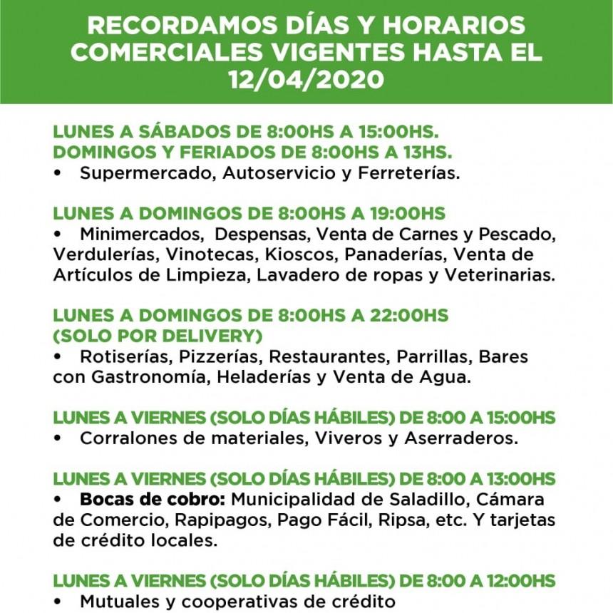Saladillo: RECORDAMOS DÍAS Y HORARIOS COMERCIALES VIGENTES HASTA EL 12/04/2020