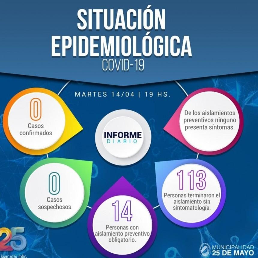 25 de Mayo: Informe Epidemiológico del 14/04/2020