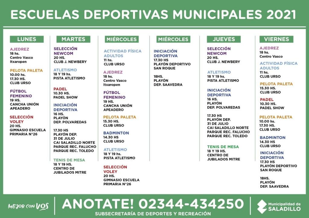 Actividad de Escuelas Deportivas Municipales 2021 de Saladillo