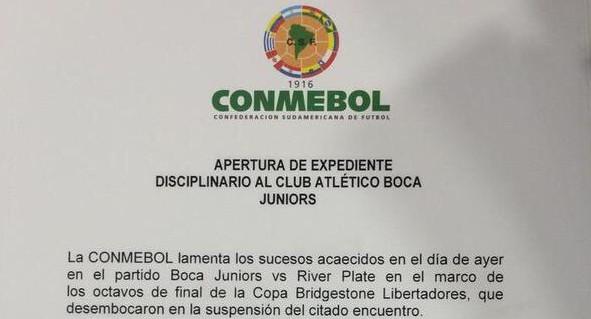 La Conmebol le abrió un expediente a Boca