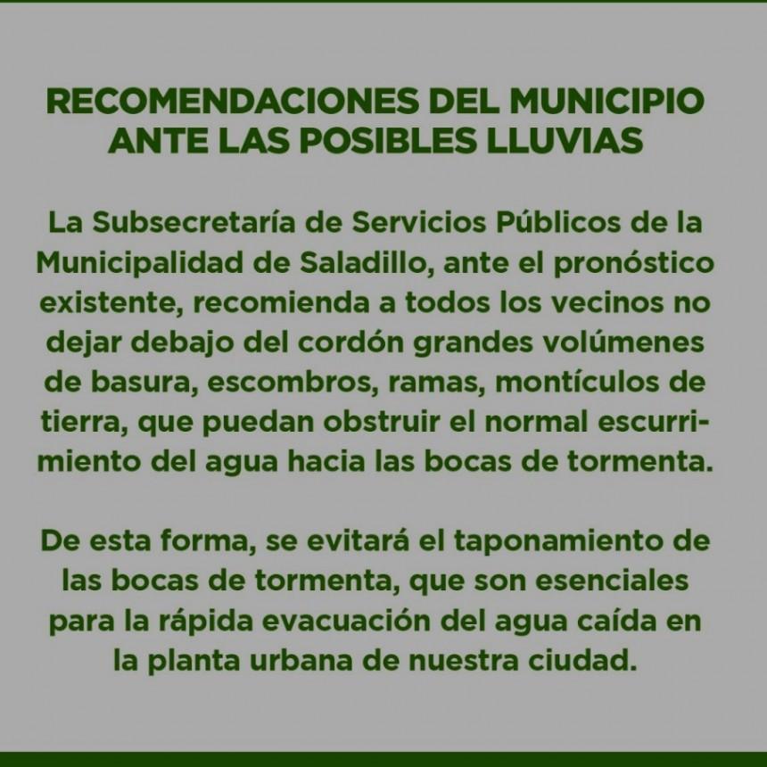 SALADILLO: RECOMENDACIONES DEL MUNICIPIO ANTE LAS POSIBLES LLUVIAS