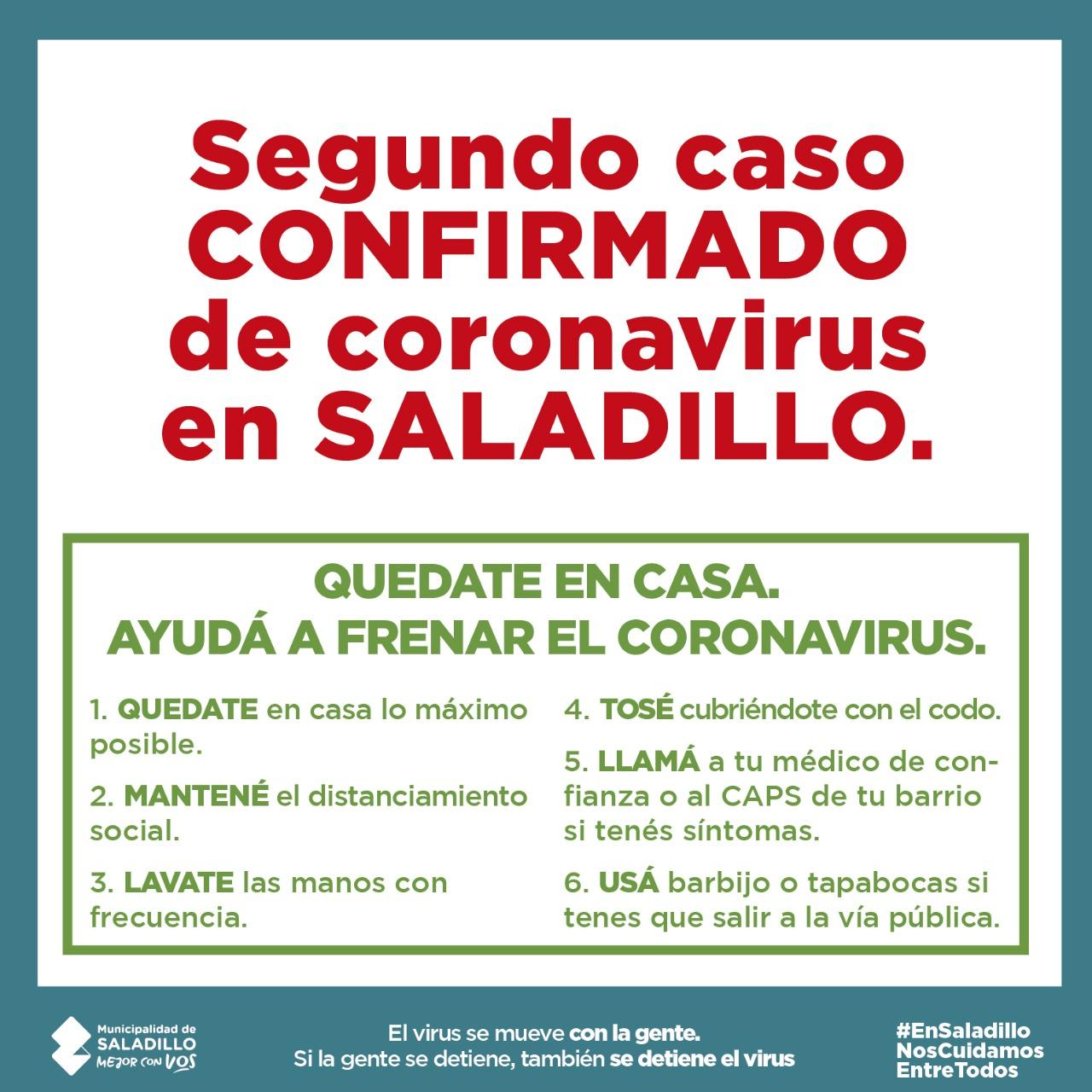 Caso confirmado de coronavirus en Saladillo
