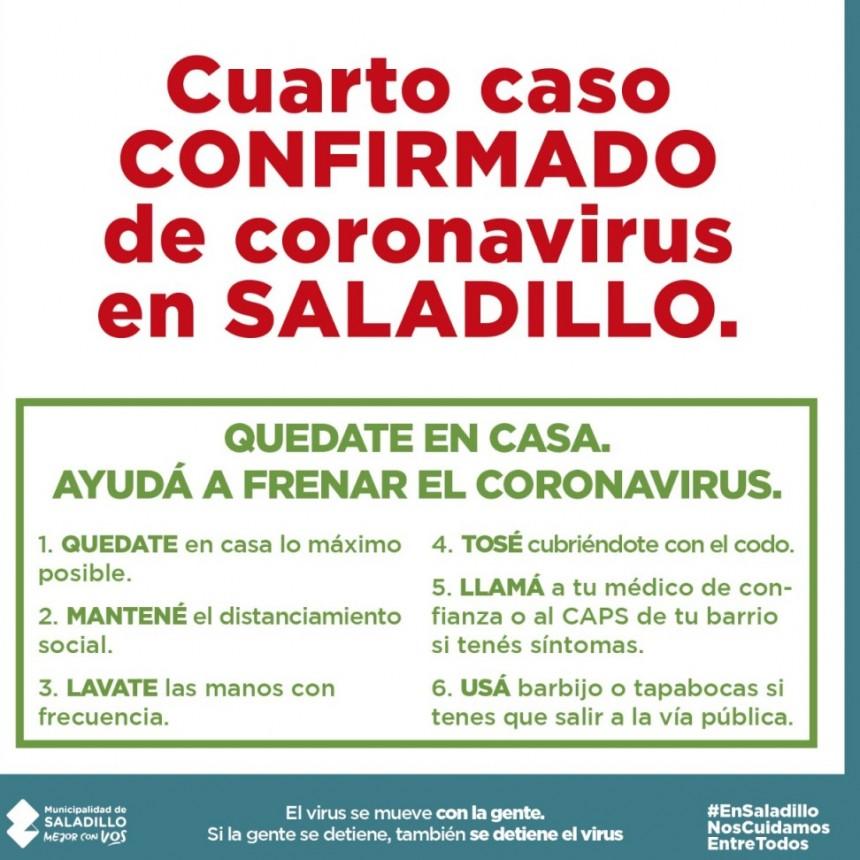 CUARTO CASO CONFIRMADO DE CORONAVIRUS EN SALADILLO