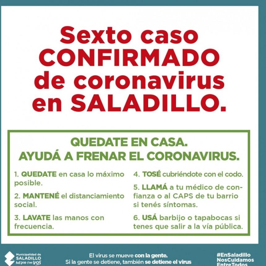 Se confirmó un 6° caso positivo de Coronavirus en Saladillo
