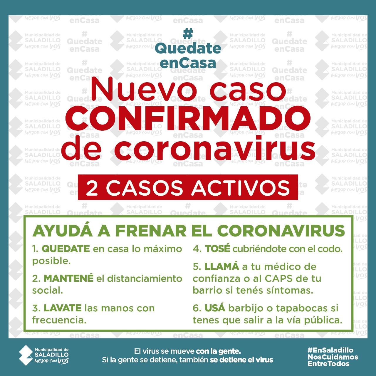 *NUEVO CASO CONFIRMADO DE CORONAVIRUS EN SALADILLO