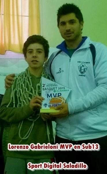 MVP DEl TORNEO INVIERNO Cat. Sub13  LORENZO GABRIELLONI