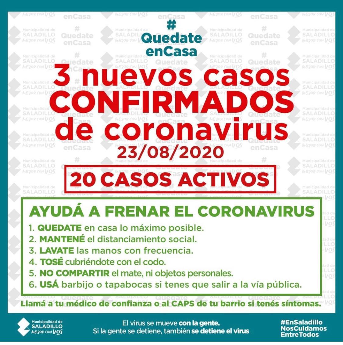 Se incrementan los casos de Covid-19 en Saladillo: 20 en total