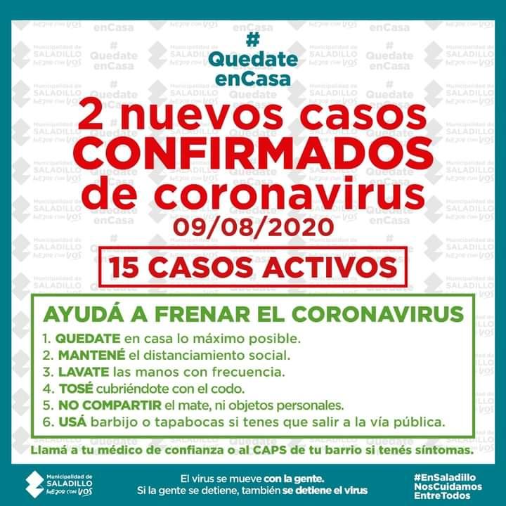 SITUACIÓN EPIDEMIOLÓGICA EN SALADILLO, ARGENTINA Y EL MUNDO al 08/08/2020