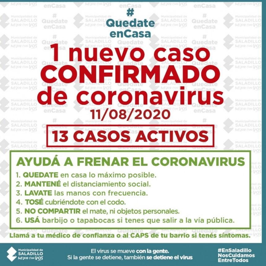 NUEVO CASO CONFIRMADO DE CORONAVIRUS EN SALADILLO