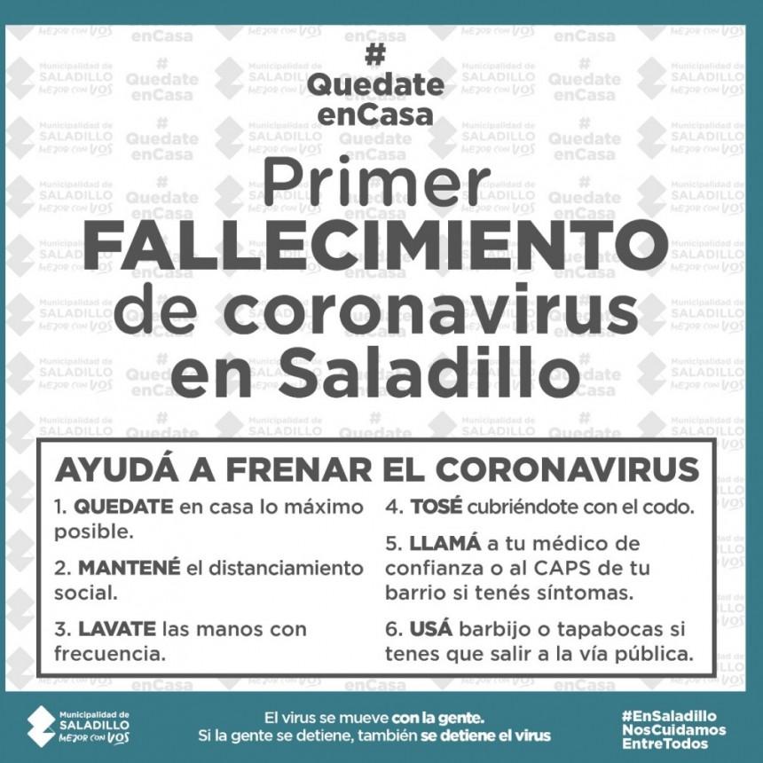 PRIMER FALLECIMIENTO POR CORONAVIRUS EN SALADILLO