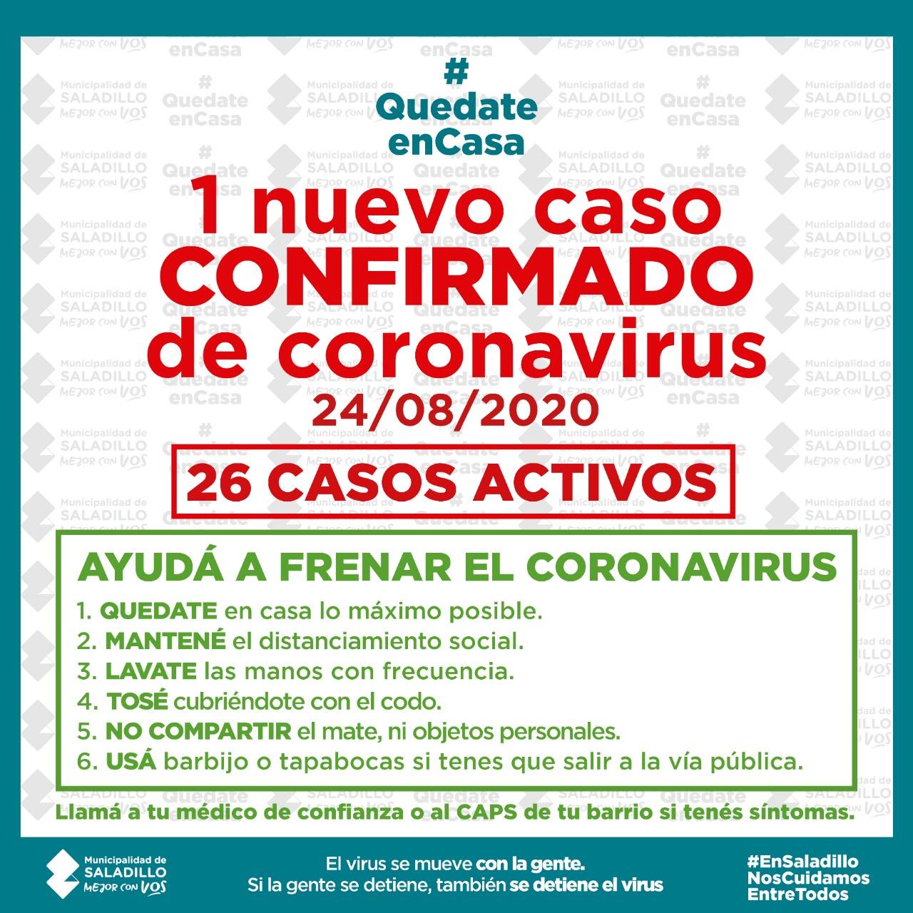 26 casos activos de covid-19 en Saladillo