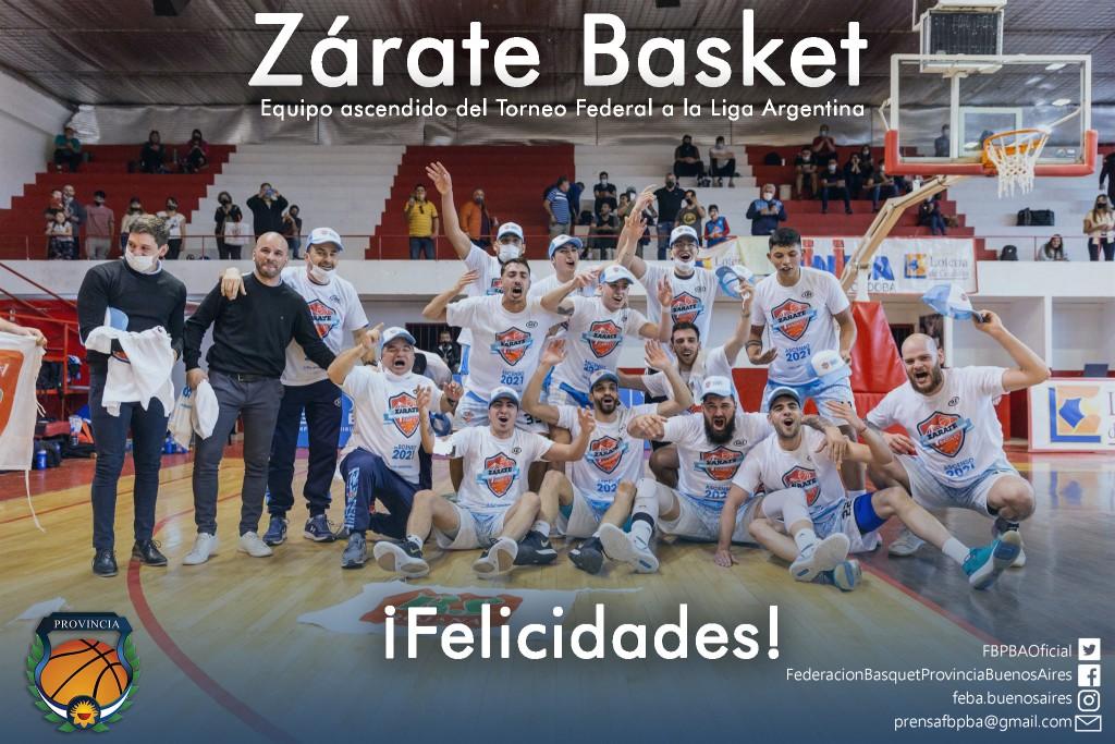 Zarate Basket y Jachal ascendieron  en el Torneo Federal