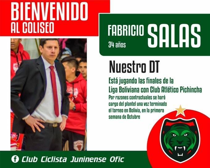Fabricio Salas será el DT de Ciclista de Junín en la Liga Argentina