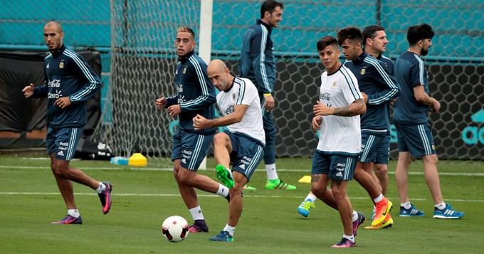 En la primera práctica de la seleccion argentina no faltó nadie