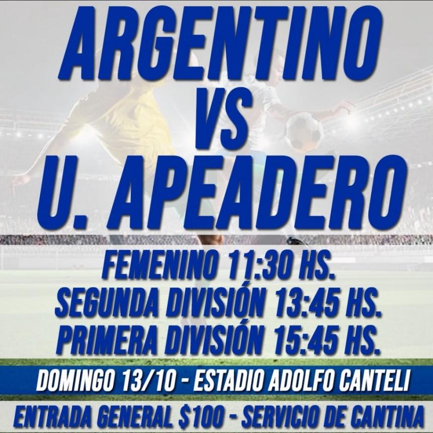 Argentino recibe a Unión Apeadero este domingo en el Canteli