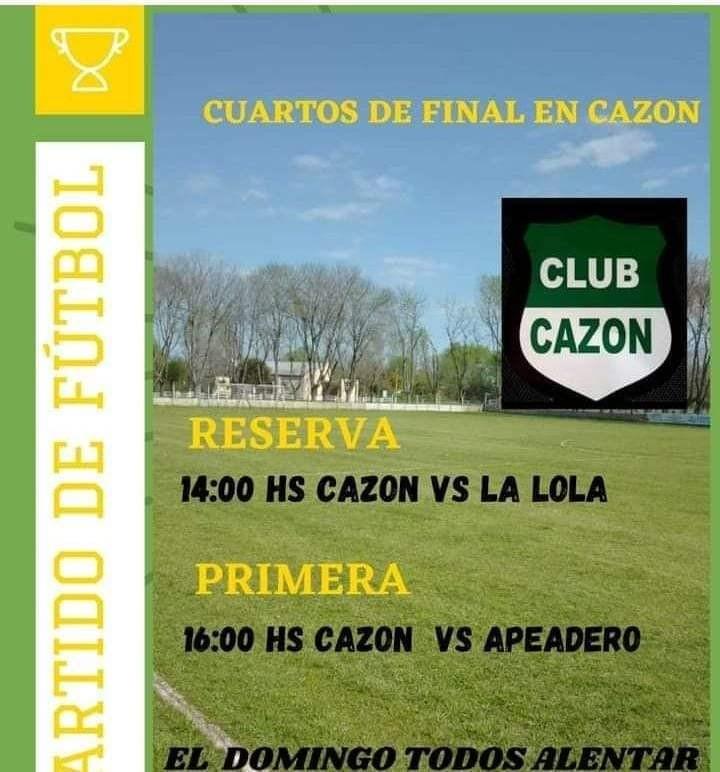 Fútbol: Deportivo Cazón recibe este domingo a Unión Apeadero