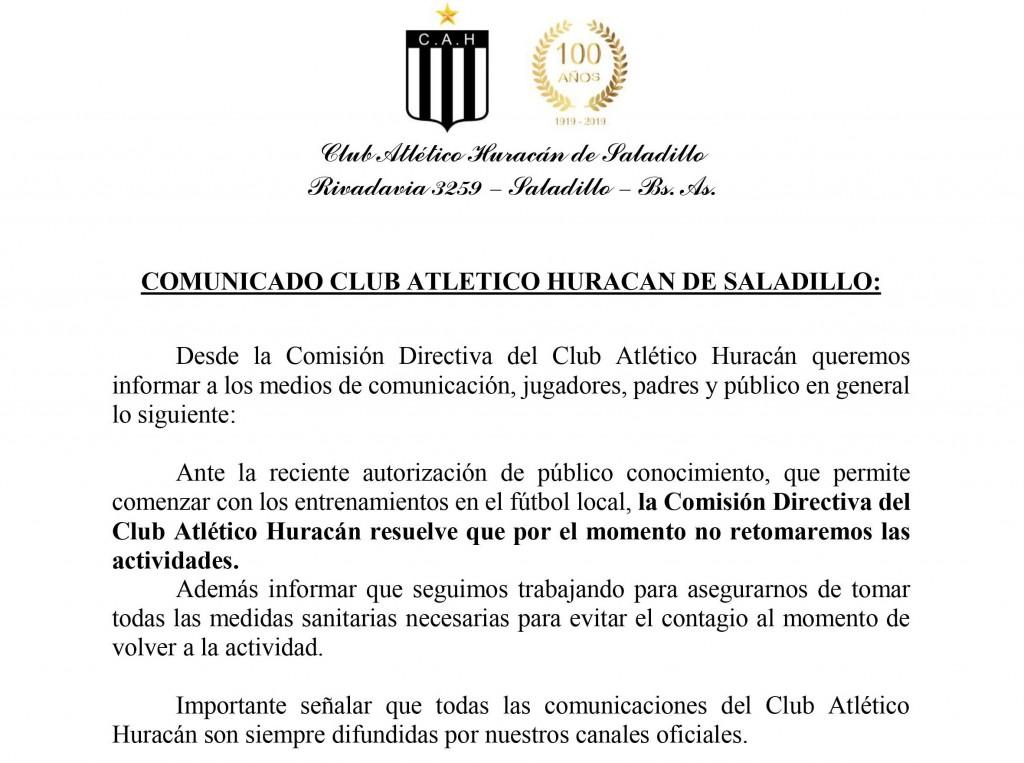 Comunicado club Atlético Huracán de Saladillo: por el momento no retomaran las actividades.