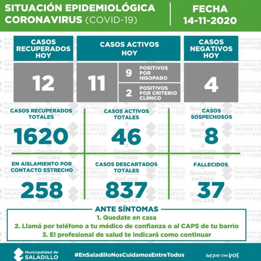 SITUACIÓN EPIDEMIOLÓGICA EN SALADILLO al 14/11/2020